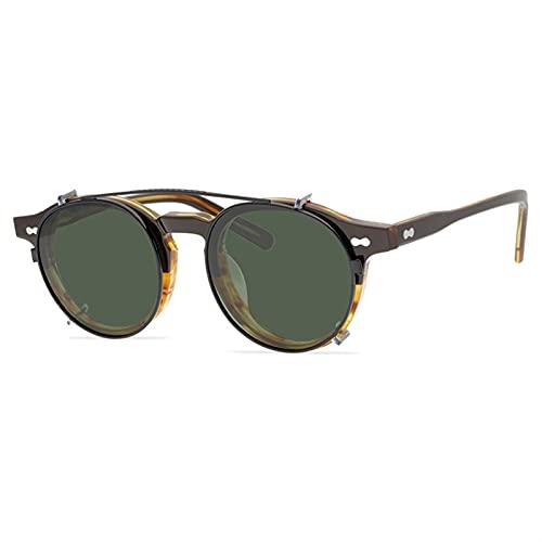 PPCERY Johnny Depp Polarized Clip auf Sonnenbrille für Männer und Frauen Acetat Retro Top Qualität Rahmen Miltzen (Lenses Color : Black Gold Stripes)