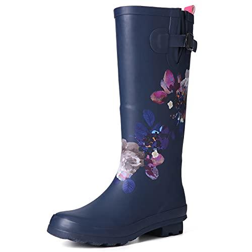 gracosy Gummistiefel Damen Regenstiefel Wasserdicht Gartenschuhe Rain Boots Flach Wasserstiefel Casual Wellington Boots Halbhoch Slip on für Reinigung, Gartenarbeit Wandern Bunt