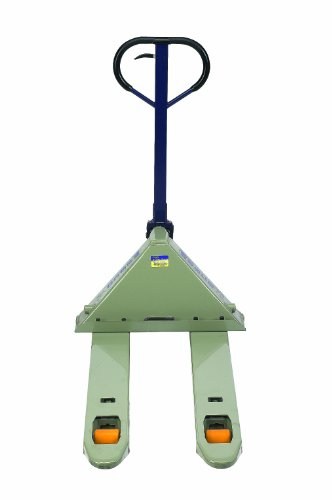 "Wesco 272744 Deluxe Adjustable Fork Pallet Truck with Handle, Polyurethane Wheels, 5500 lbs Load Capacity, 47"" Height, 48"" Length x 27"" Width"