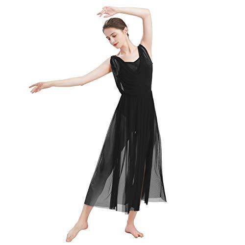 FYMNSI Damen Lyrisch Tanz Kleid Ärmellos Rückenfrei Schlitz Tüll Maxikleid Lyrische Modern Contemporary Tanzkostüm Trikot Latein Ballett Tüllkleider Ballettanzug Schwarz S