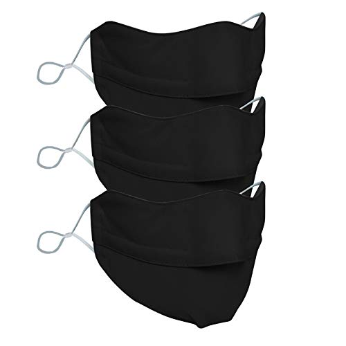 3-Ply Disposable Face Macks, Anti-Fog Face Shield for People Who Wear Glasses, Latest Technology,Adult Face_Mask,Face_Mask for Adult (Black-3pc)