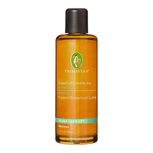 PRIMAVERA Aroma Sauna Grapefruit Limette bio 100 ml -Saunaöl, Aromatherapie - strahlendes Zitrusaroma - belebend, stimmungshebend