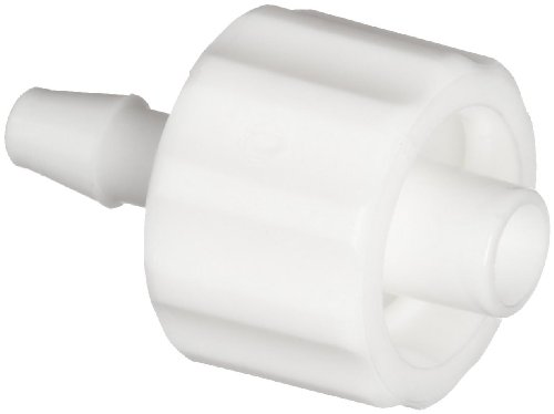 Value Plastics MTLL210-1 White Nylon Tube Fitting, Male Luer with Integral Lock Ring to 200 Series Barbed Coupler, 1/16