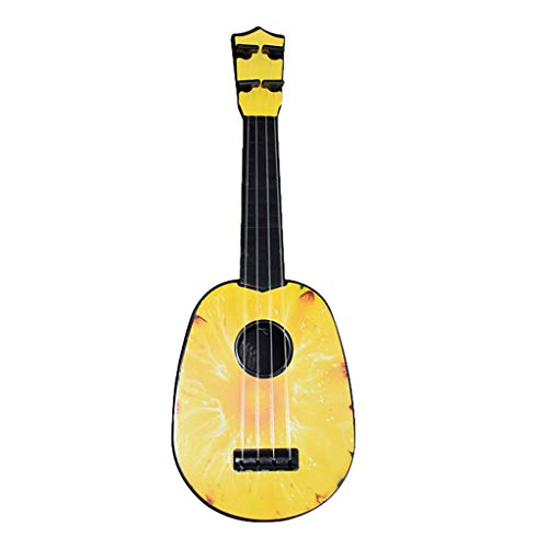 Fine Mini Ukulele Fruit Guitar,Children Learning Guitar Toys Fruits Style 4 Strings Play Simulation Early Educational Musical Instruments for Kids (B)