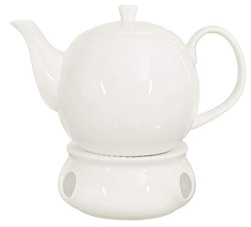 Buchensee Teekanne/Kaffeekanne 1,5 Liter mit Stövchen. Fine Bone China Premium Qualität in fein-cremigem Weiß