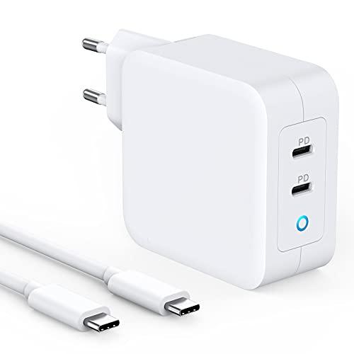 Cargador USB C de 100 W con Power Delivery, PD 100 W, con GaN Tech, 2 puertos compatibles para MacBook Pro/Air,iPad Pro,iPhone 12/Mini/Pro Max,SE/11/11Pro Max/XS Max USB C a C 2 m Cable