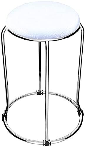 NUBAOgykongtiao Taburete de metal para silla de comedor, taburete de acero inoxidable, taburete suave (color: blanco) (color: blanco)