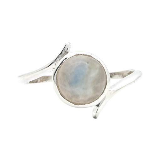 Anillo de plata de ley 925 Piedra de luna (No: MRI 143), Ringgröße:60 mm/Ø 19.1 mm