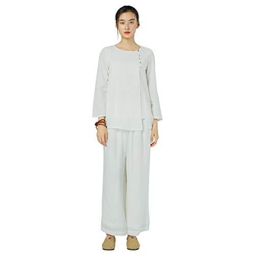 KSUA Abbigliamento da Donna Tai Chi Uniforme da Meditazione Zen Abbigliamento Tradizionale Cinese in Cotone Kung Fu con Maniche a Tre Quarti, Colletto Tondo EU S/Etichetta M