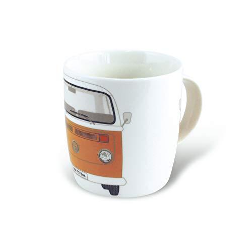 Brisa VW Collection - Volkswagen T2 Bulli Bus Kaffee-Tee-Tasse-Becher für Küche, Werkstatt, Büro - Camping-Zubehör/Geschenk-Idee/Souvenir (Motiv: Front/Orange)