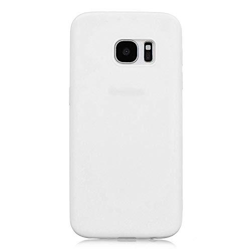 cuzz Funda para Samsung Galaxy S7 Edge+{Protector de Pantalla de Vidrio Templado} Carcasa Silicona Suave Gel Rasguño y Resistente Teléfono Móvil Cover-Blanco