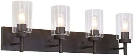 VINLUZ 4 Lights Bathroom Vanity Light Fixture Oil Rubbed Bronze Sconces Wall Lighting Modern product image
