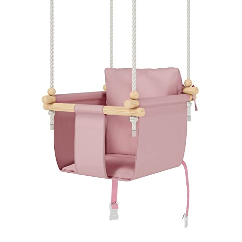 MAMOI Juego de columpio para bebé, columpio de madera incluye cinturón de seguridad, ideal como columpio de bebé al aire libre, columpio de interior, columpio de jardín