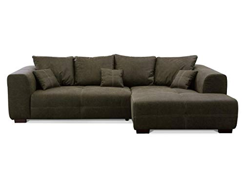 CAVADORE Ecksofa Mavericco inkl. Kissen / XXL-Eckcouch im modernen Design / Longchair rechts / 285 x 69 x 170 / Lederoptik dunkelgrün