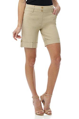 Rekucci Women's Ease Into Comfort 8 inch Chic Urban Short (6,Stone)