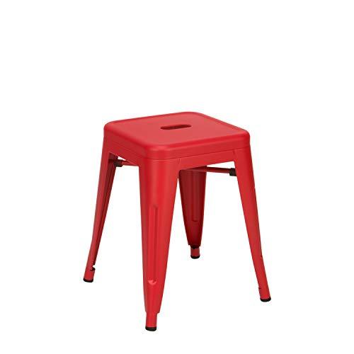 Vaukura Taburete Bajo Tolix - Taburete Industrial Metálico Mate (Rojo)