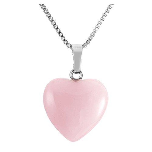 Jovivi Ciondolo da donna a forma di cuore con pietre preziose per terapia energetica e cristallo, 50,8 cm e Rame, colore: Quarzo rosa , cod. AJDE6282