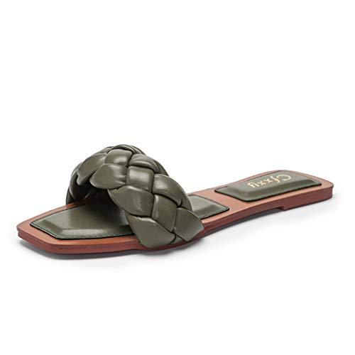 Cuero Suave Mujer Sandalias Estilo Casual, Primavera Verano 2021 Mujer Punta Abierta Cuña Sandalias, Suave y Confortable, Diseño de Trenza Zapatos Romanos