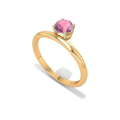Rosec Jewels 10 quilates oro amarillo redonda Pink Tourmaline