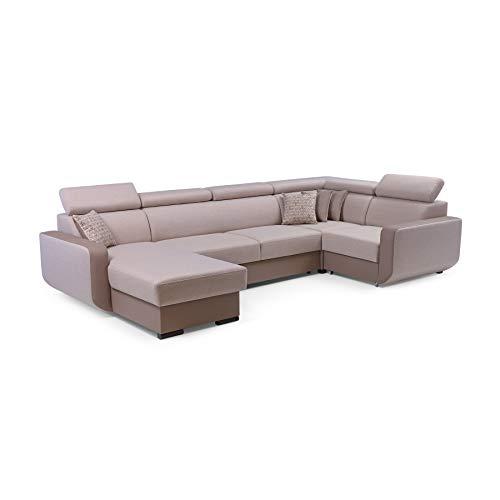 MOEBLO Ecksofa mit Schlaffunktion Eckcouch mit Bettkasten Sofa Couch U-Form Polsterecke Maxim (Cappuccino, Ecksofa Links)
