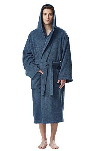 Arus Albornoz clásico de algodón turco con capucha para hombre con opciones de longitud completa - Azul - XXL/longitud total