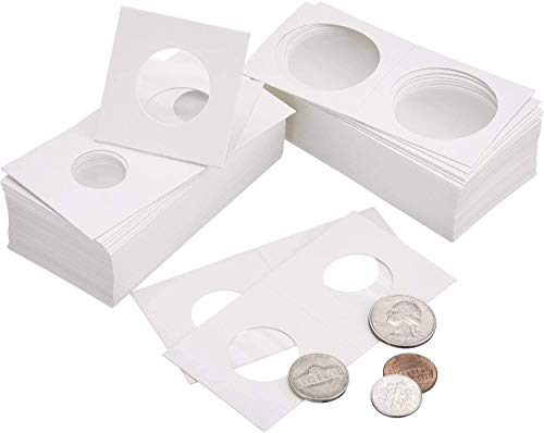 DILISEN 300 Piezas de Soporte de Moneda de Cartón Surtido de Flip Mega, 2 por 2 Pulgadas Funda de Moneda de Cartulina de Flip para Materiales de Colección de Monedas (6 Tama)