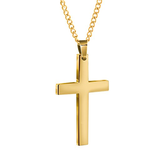 Bliqniq Edelstahl Kreuz Kette Herren Gold Kreuzanhänger mit Chain Kette für Männer Frauen Länge 61cm [Geschenkbox Verpackung]