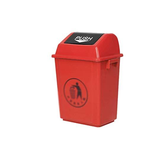 LYD Papelera de Basura, Latas de Basura, Cubos de Basura Industrial, Plástico Grueso 40L Basura Al Aire Libre Reciclaje de Basura en Casa Hospital Aula Interior/Al Aire Libre,a,31.5 * 40.5 * 60 cm