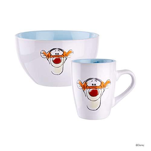 BUTLERS Disney Müslischale und Tasse mit Winnie Pooh Design - Frühstücks-Schale und Kaffee-Becher Motiv Tigger in Weiß-Pastellblau