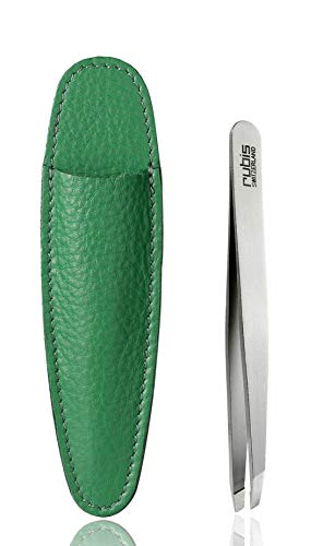 Rubis Pince à épiler oblique en acier inoxydable avec étui vert
