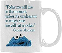 WECE Mugs Funny Sayings Today me will live in the moment unless it's unpleasant in which case me will eat a cookie - cookie monster Mug Coffee Mug Gift Idea for Him or Her