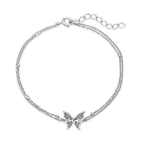 hongbanlemp Pulseras para mujer de plata de ley para mujer, pulsera de mariposa, cadena simple, joyería de mano, colección ajustable para amigos, pulsera