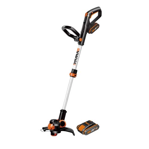 WORX WG163E 18V (20V MAX) Cordless Grass Trimmer with Command Feed and 2 Batteries