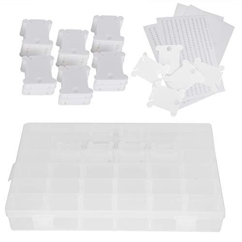 120 piezas de bobinas de hilo de punto de cruz, herramienta organizadora de hilo de bordar, tablero de bobinado con caja de plástico para almacenamiento de costura Diy