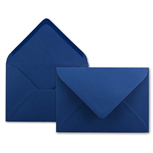 100x Brief-Umschläge in Nacht-Blau/Dunkelblau - 80 g/m² - Kuverts in DIN B6 Format 12,5 x 17,6 cm - Nassklebung ohne Fenster