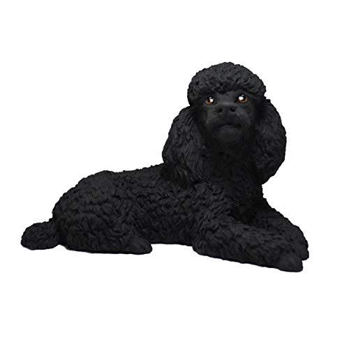 Figur Pudel, Schwarz, Grau, Weiß, Braun, Hundestatue, Harz, Höhe: 10 cm (schwarz)