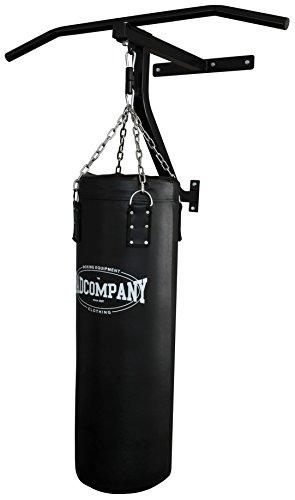 Pro Box und Fitness Station schwarz Klimmzugstange, Wandhalterung, Befestigungsmaterial und Boxsack 90 x 30cm gefüllt inkl. Heavy Duty Vierpunkt-Stahlkette BCA-109