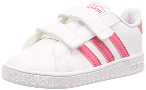 adidas Grand Court I, Pantofole Unisex-Bambini, Bianco (Ftwbla/Rosrea/Ftwbla 000), 20 EU