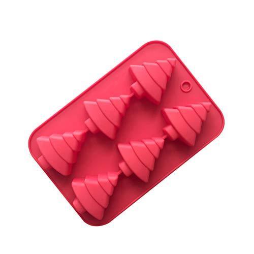 CaCaCook Weihnachten Silikon EIS Formen Trays Wiederverwendbare Backformen Weihnachtsbaum Praline Cookie Backform für Kuchen Cupcake Dekorieren, zufällige Farbe