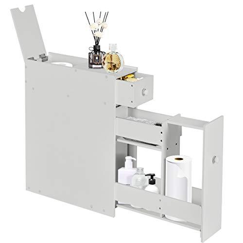 COSTWAY Nischenschrank aus Holz, Badschrank schmal, Seitenschrank, Standschrank, Küchenschrank, Beistellschrank, Hochschrank, Mehrzweckschrank für Bad, Küche, Wohnzimmer, 16 x 48 x 58 cm (Weiß)