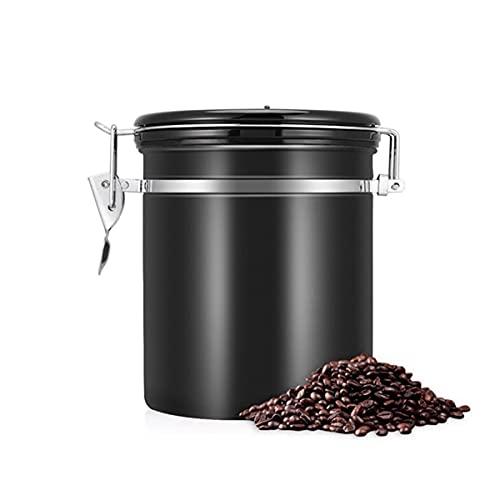 KINGEE Kaffeedose Luftdicht Aus Edelstahl Für 500G Kaffeebohnen, Kanister Mit CO2-Freigabe-Ventil Und Datumsanzeige, Frischhaltebohnen Für Längere, Behälter Für Kaffee, Tee, Kakao, Nudeln,Schwarz
