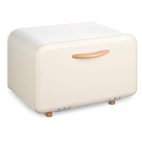 Navaris Brotkasten Brotaufbewahrung Brotbox mit Frontöffnung - Behälter zur Aufbewahrung von Brot - Brotdose Brotkorb Brotbehälter aus Metall