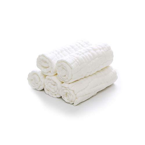 Mullwindeln Spucktücher, Finoki 5er Set Mulltücher Saugstark Waschlappen, Baumwolle Faltwindeln, 18 * 47cm