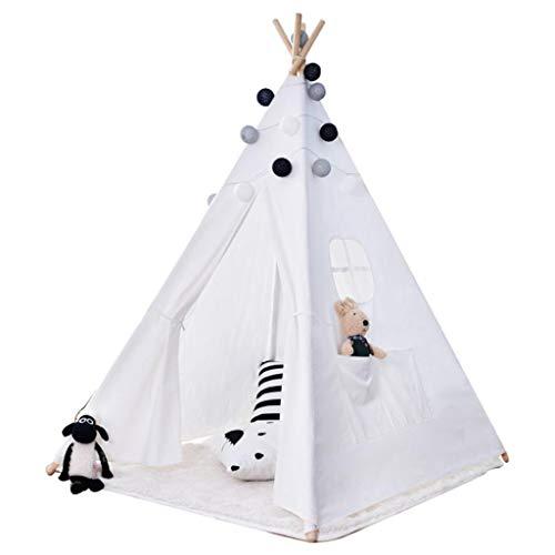 JINGJIJNG Indoor Kinderzelt Spielzelt Indisches Zelt Spielhaus Weiße Haarkugel Tragbar Kinderhütte Innen und außen Baby Klettern Strandzelt,White