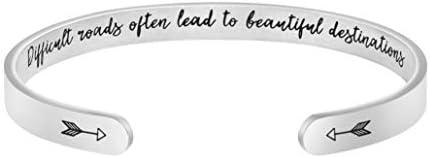 Joycuff Cuff Bracelets for Women Empowerment Jewelry Difficult Roads Often Lead to Beautiful product image