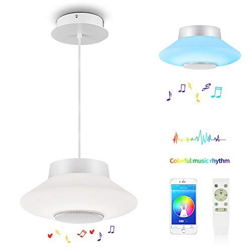 Horevo RGB 30W LED Pendelleuchte Dimmbar Hoehenverstellbar Musik Modern Deckenleuchte mit Fernbedienung,App Hängelampe Weiß Hängeleuchten Hängelampe Esszimmer,110cm(verstellbar),(3000k-6500k)