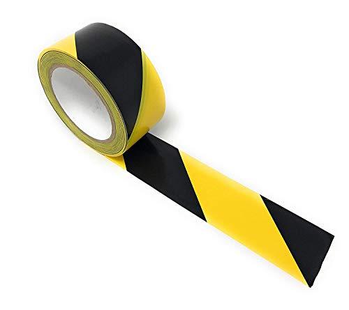 Negro cinta adhesiva cinta de advertencia marca de peligro amarillo Barrera correa del cinturón de seguridad piso resistente al desgaste para paredes tubos Herramientas 50mmx33mIndustrial