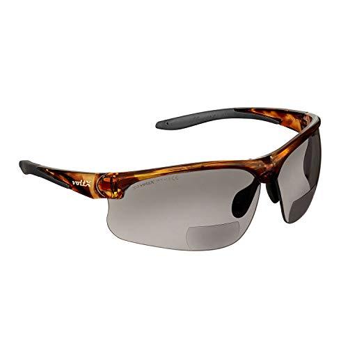 Gafas bifocales de Seguridad para Lectura voltX 'Constructor Ultimate' (Montura Carey, Lentes ahumadas Dioptría +2.0) CE EN166FT - Bifocales Ciclismo Deportivo Premium - UV400
