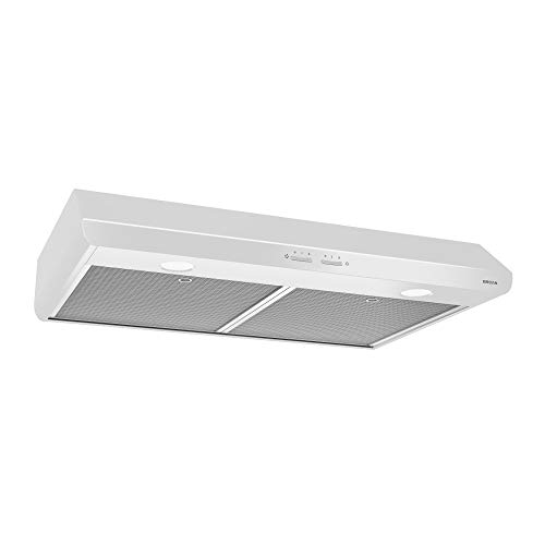 Broan-NuTone BKSH130WW Sahale Range Hood with Light and EZ1 Installation Brackets, 30-Inch, White