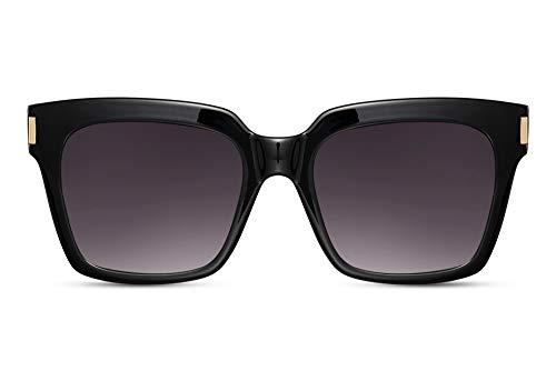 Cheapass Gafas de Sol Mujeres Oversize Gafas de sol de Mariposa Negras Marco y Oscuras Lentes Protección UV400